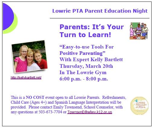 Lowrie PTA Parent Education Night Postcard